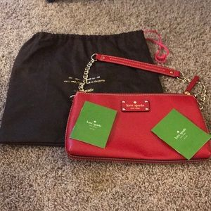 Kate Spade pink red small bag with chain